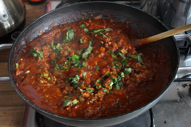 Vegan Bolognese Sauce with Basil
