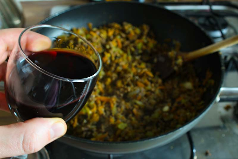 Adding Red Wine to Bolognese