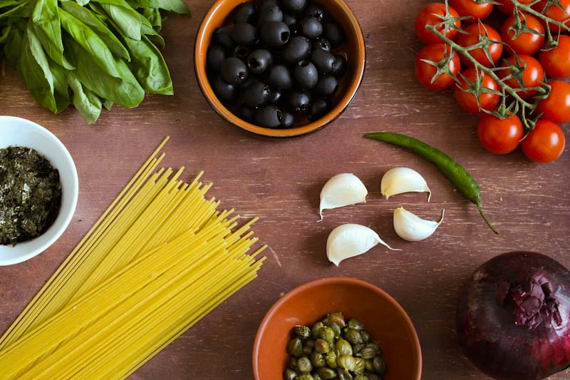 Vegan Puttanesca Ingredients