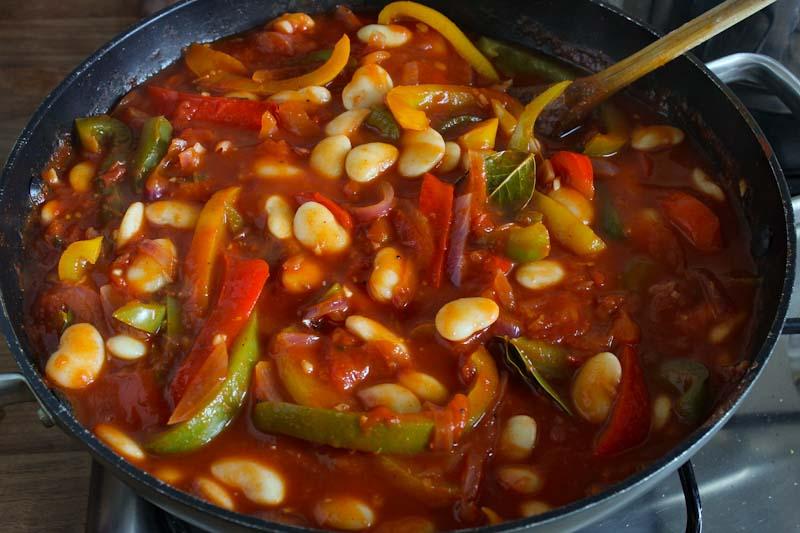Vegan Butter Bean Stew Cooking