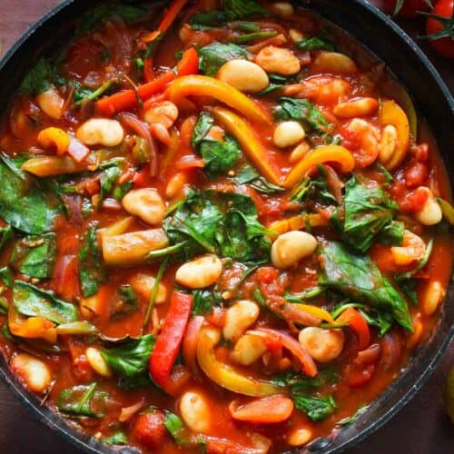 Vegan Butter Bean Stew with Peppers and Spinach