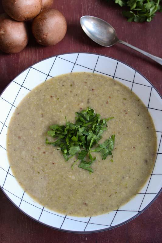 Vegan Mushroom and Tarragon Soup