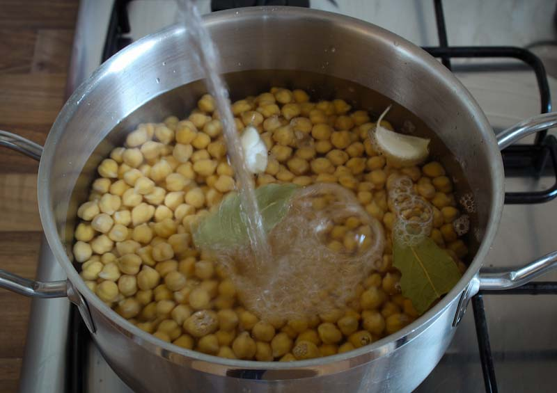 Adding Water to Soaked Chickpeas