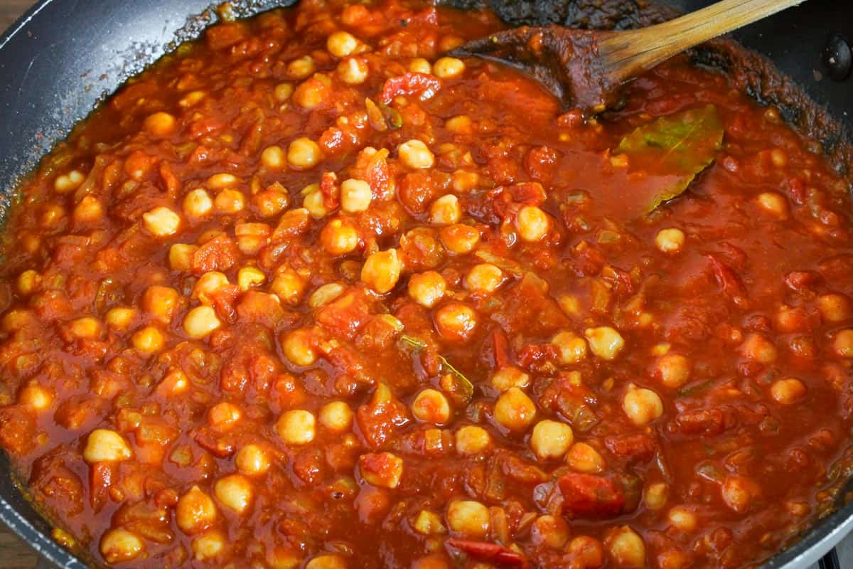 Chickpeas Cooking in Curry Base