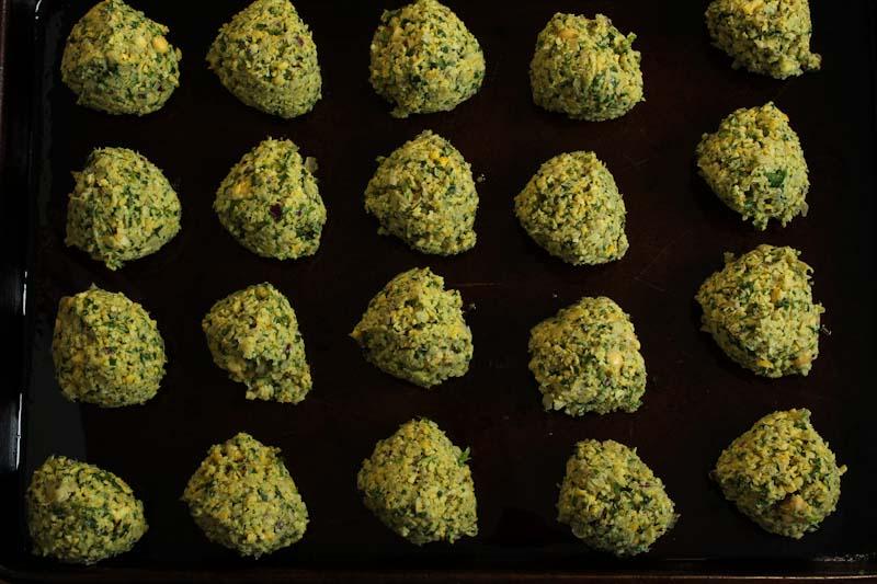 Falafel Balls on Baking Sheet