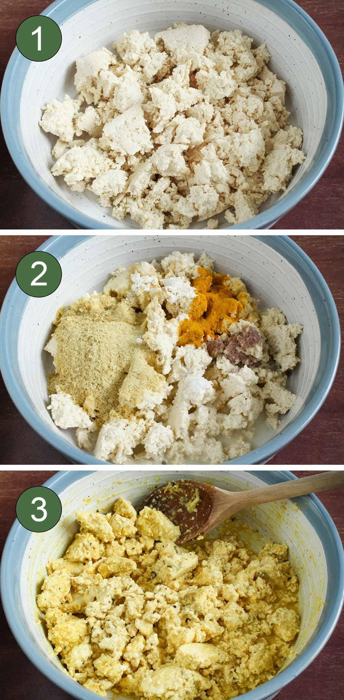 Process Shots Showing How to Make Vegan Tofu Scramble