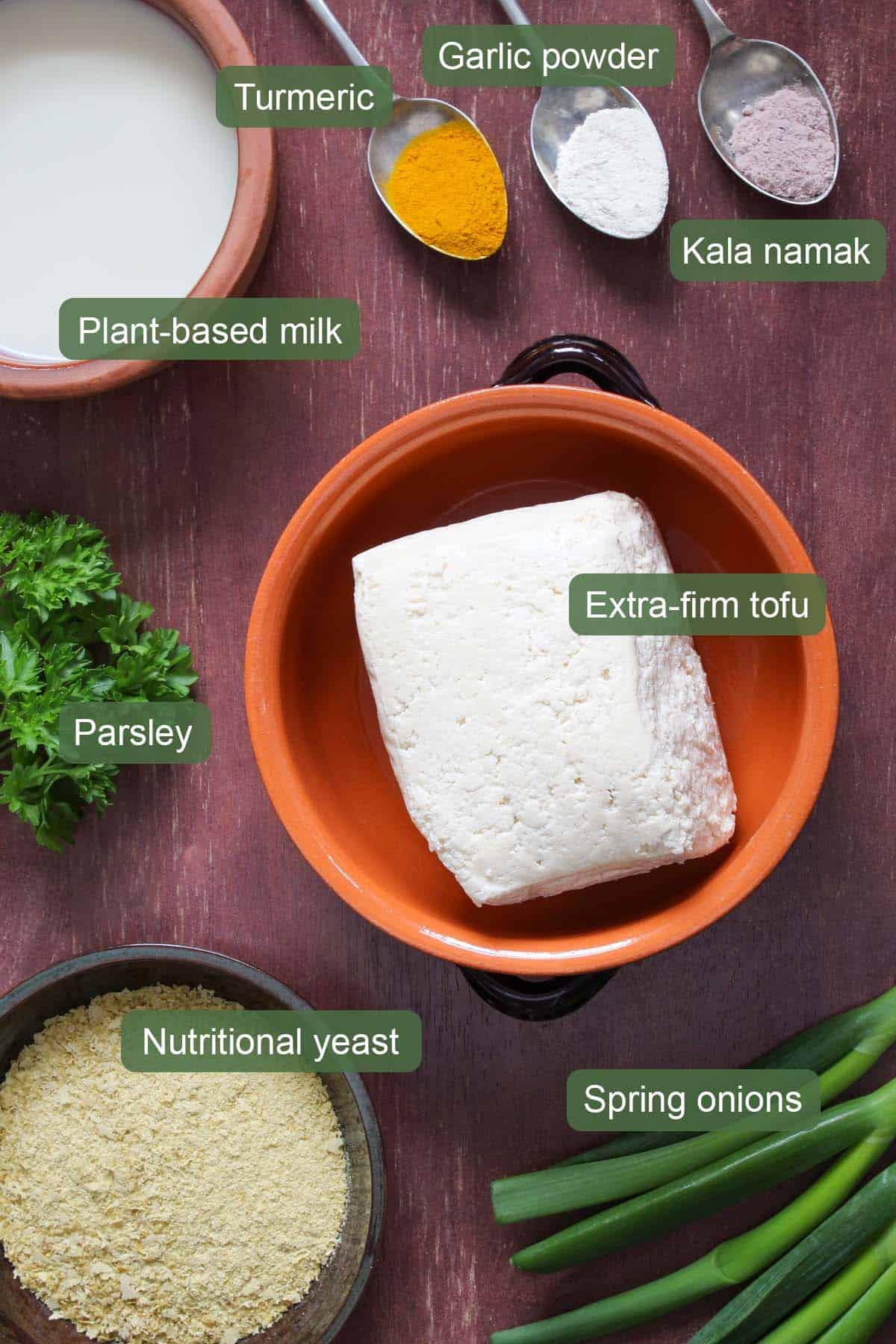 Eggy Scrambled Tofu Ingredients