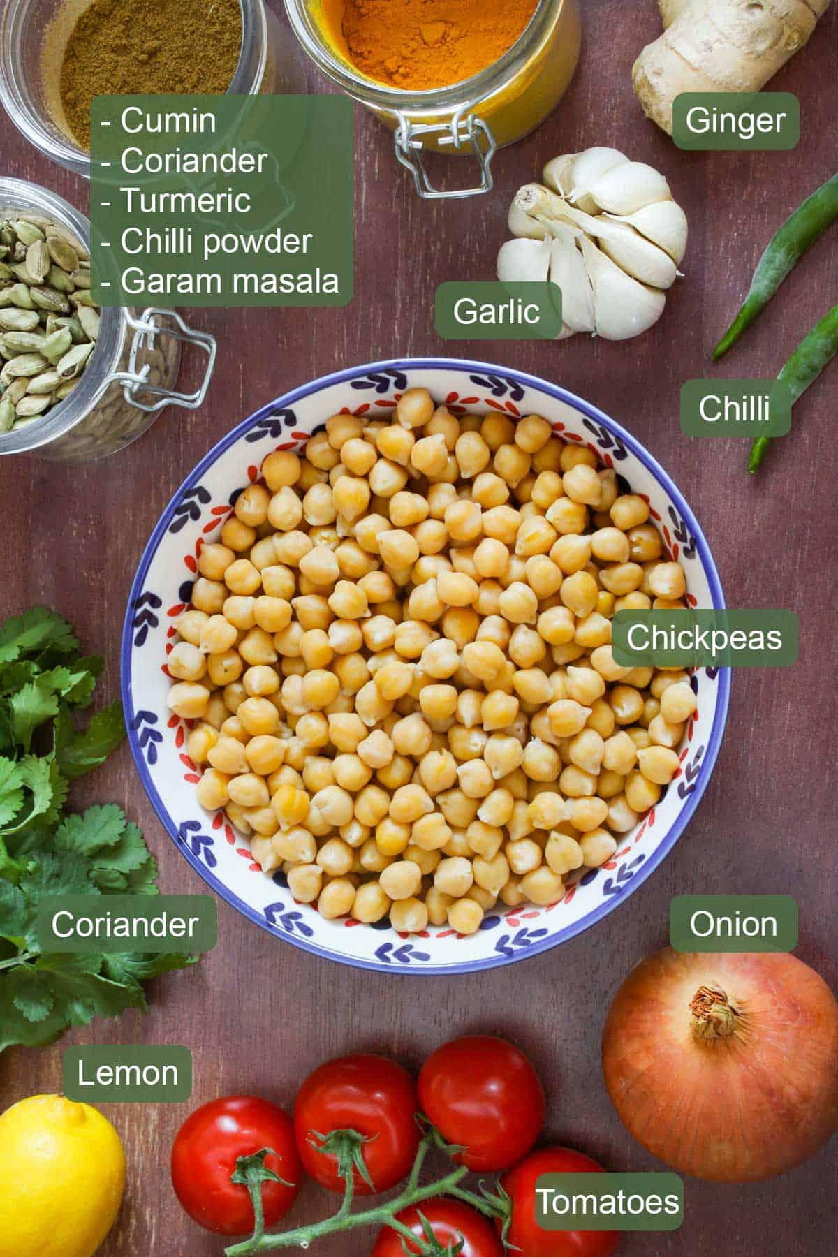 List of Ingredients to Make Chana Masala