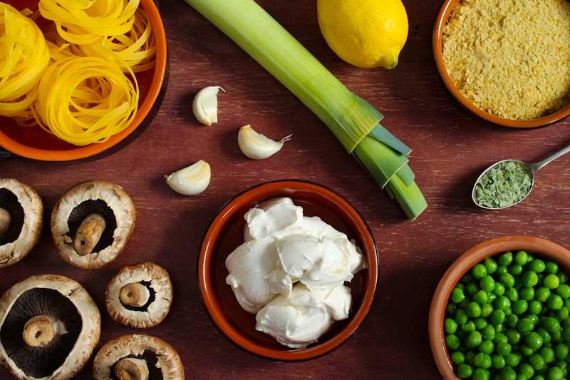 Creamy Vegan Mushroom Leek Pasta Ingredients