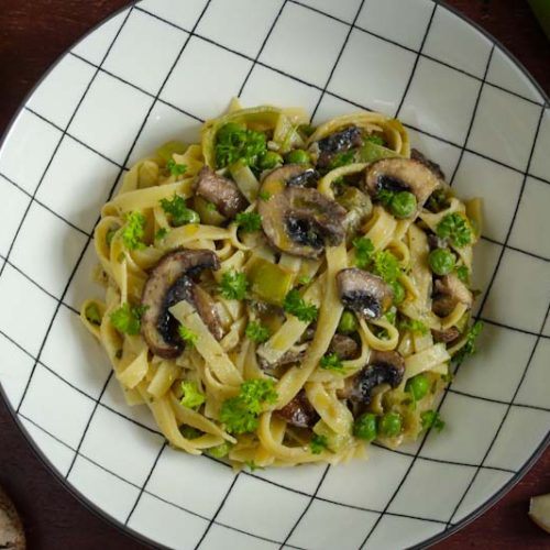 Creamy Vegan Mushroom and Leek Tagliatelle in Bowl