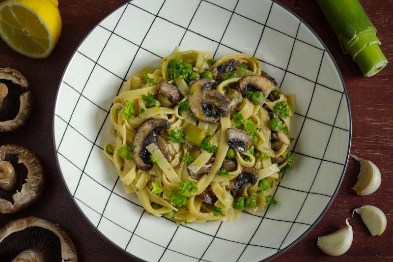 Creamy Vegan Mushroom and Leek Tagliatelle in Bowl