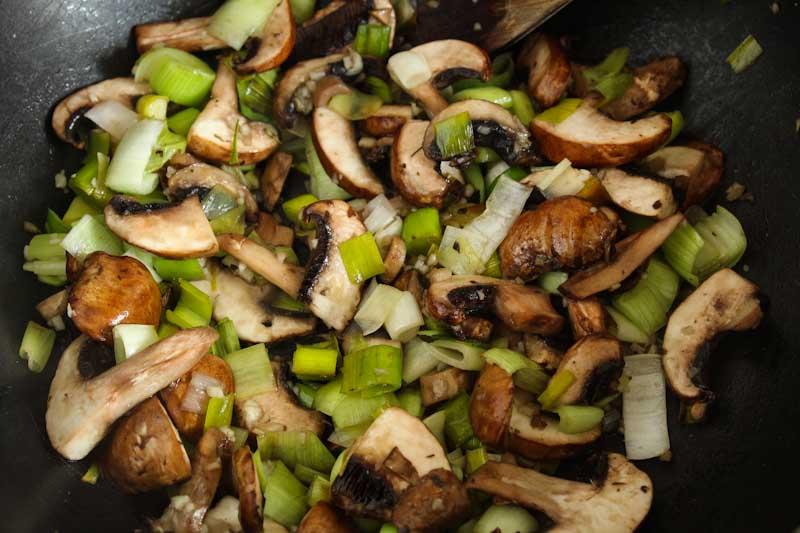 Mushrooms, Leeks, and Garlic Frying in Pan