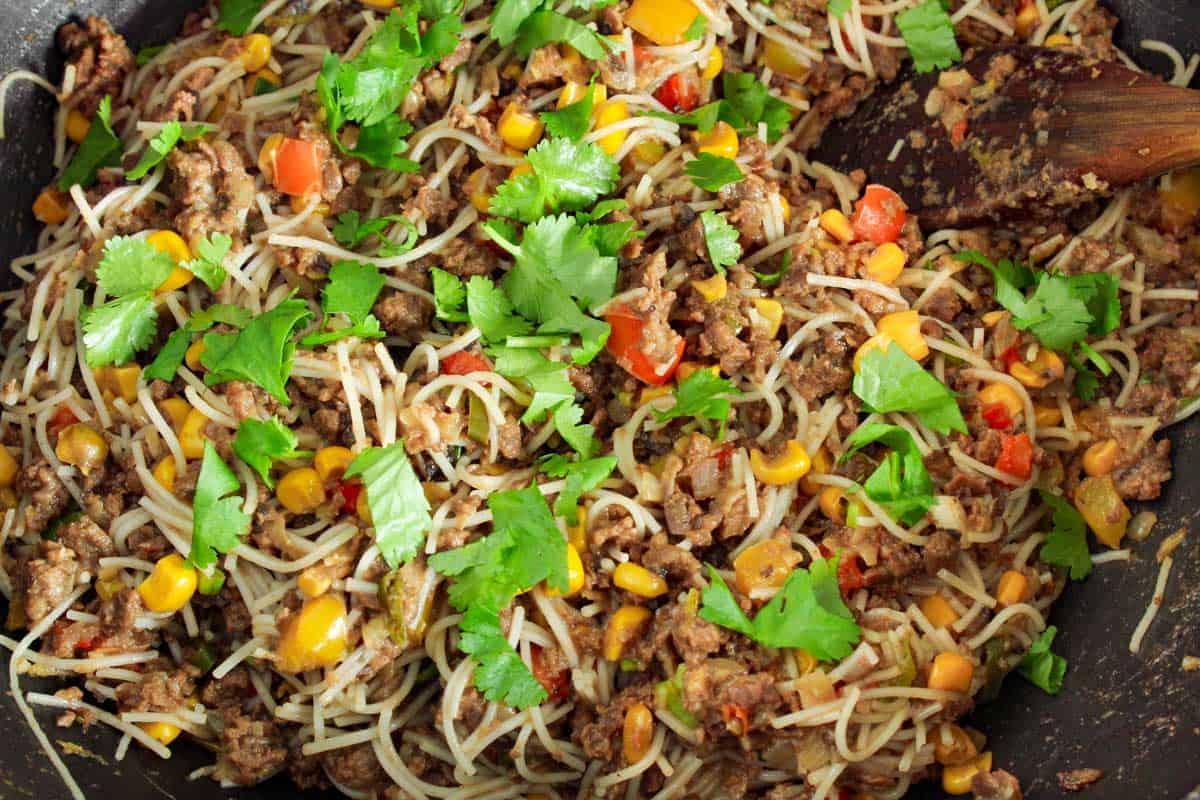 Vegetables, Rice Noodles, Coriander in Pan