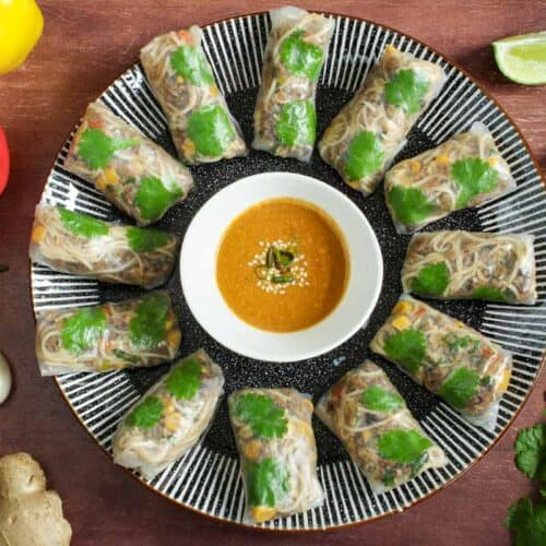 Vegan Rice Paper Rolls on Plate