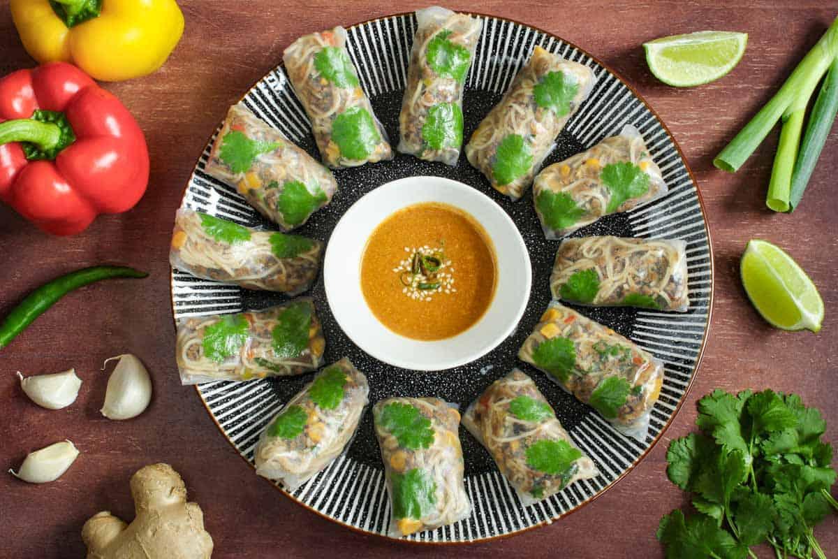 Vegan Rice Paper Rolls on Plate