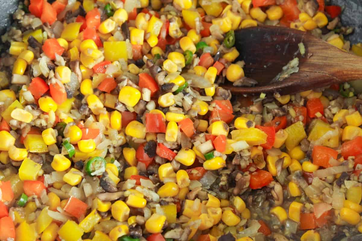 Veg and Sweetcorn Cooking