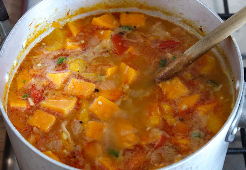 Sweet Potato and Coconut Soup Cooking