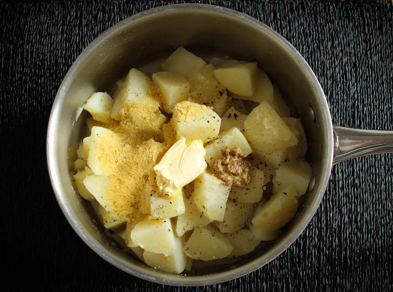 Boiled Potatoes with Milk, Butter, Mustard, Nutritional Yeast