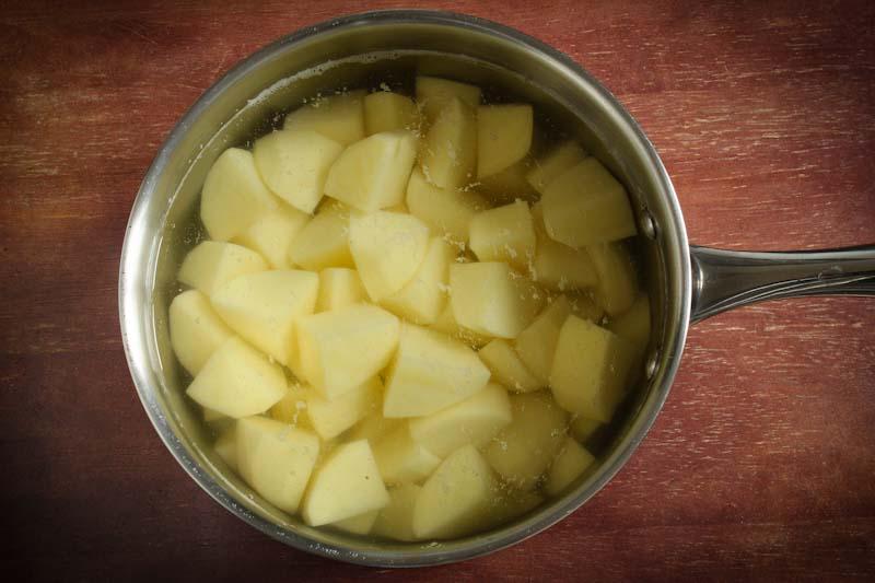 Chopped Potatoes in Water