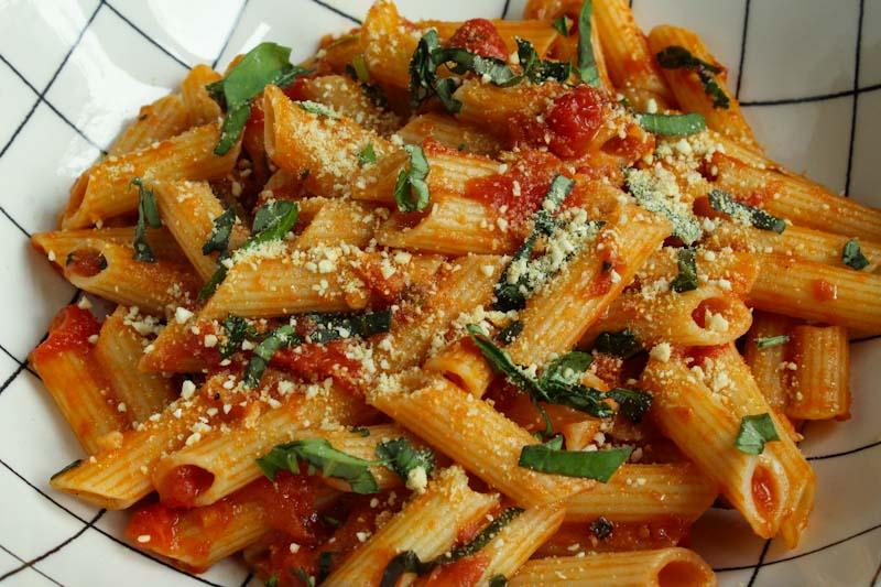 Easy Tomato Pasta with Vegan Parmesan