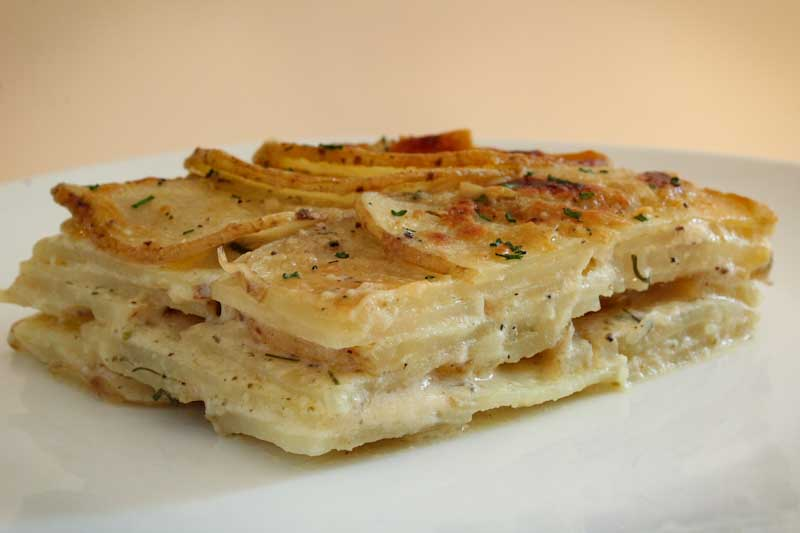Vegan Potato Gratin Slice Close-Up