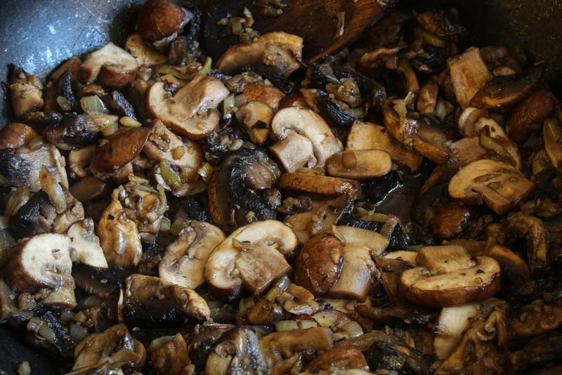 Mushrooms, Onions, and Garlic Frying in Pan