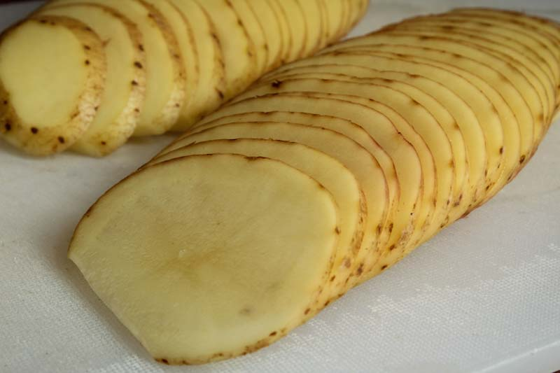 Close-Up of Thinly Sliced Potatoes