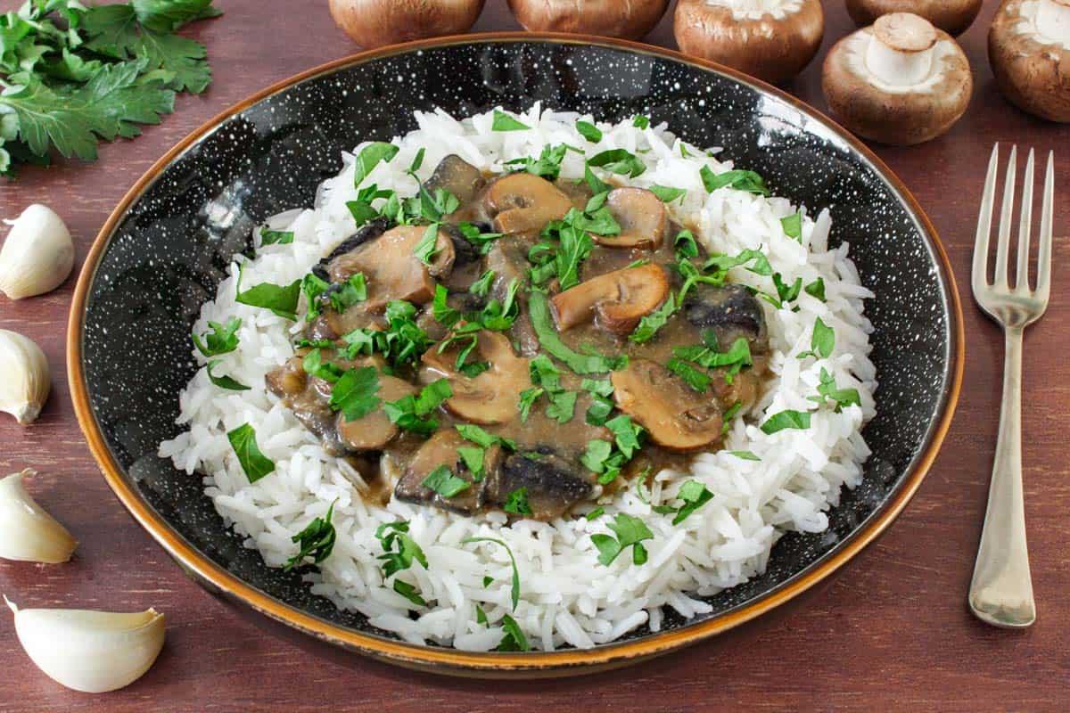 Dairy-Free Gluten-Free Mushroom Stroganoff with Rice