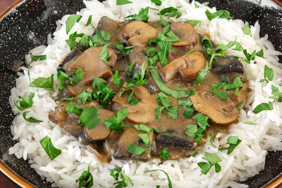 Gluten-Free Vegan Mushroom Stroganoff Close-Up
