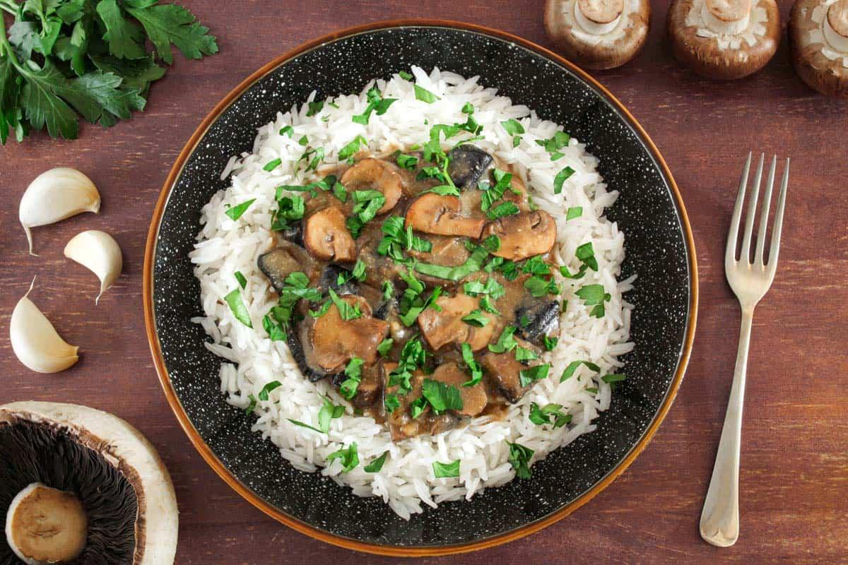 Dairy-Free Mushroom Stroganoff with Rice and Parsley