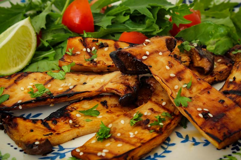 Grilled King Oyster Mushrooms on Plate