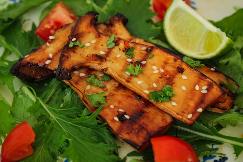 Grilled King Oyster Mushrooms with Salad