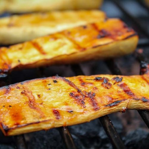 King Oyster Mushroom Steaks on Grill