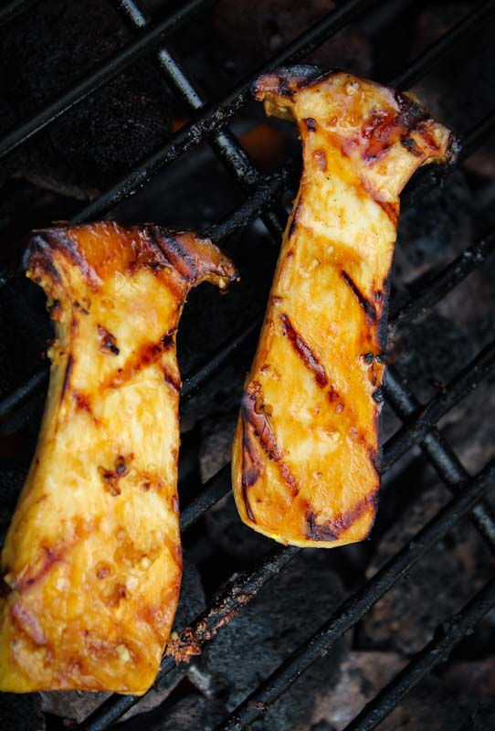 King Oyster Mushrooms Grilling on Barbecue