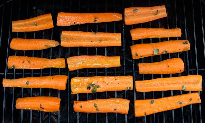 Marinated Carrots on Grill
