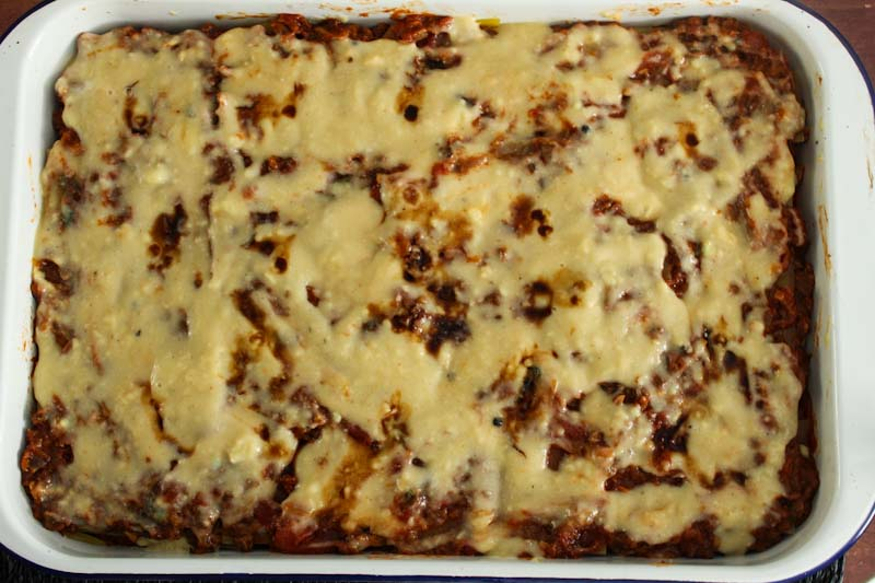 Vegan Lasagne Topped with White Sauce