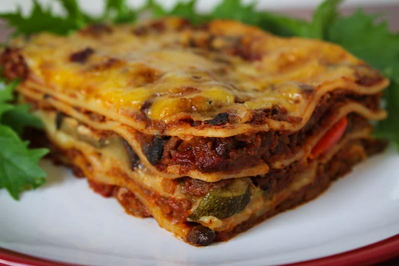 Vegan Lasagne Slice with Salad Leaves