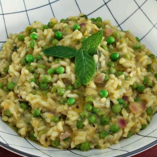 Vegan Pea and Mint Risotto Bowl