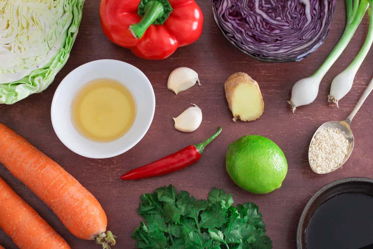 Vegan Rainbow Slaw Ingredients
