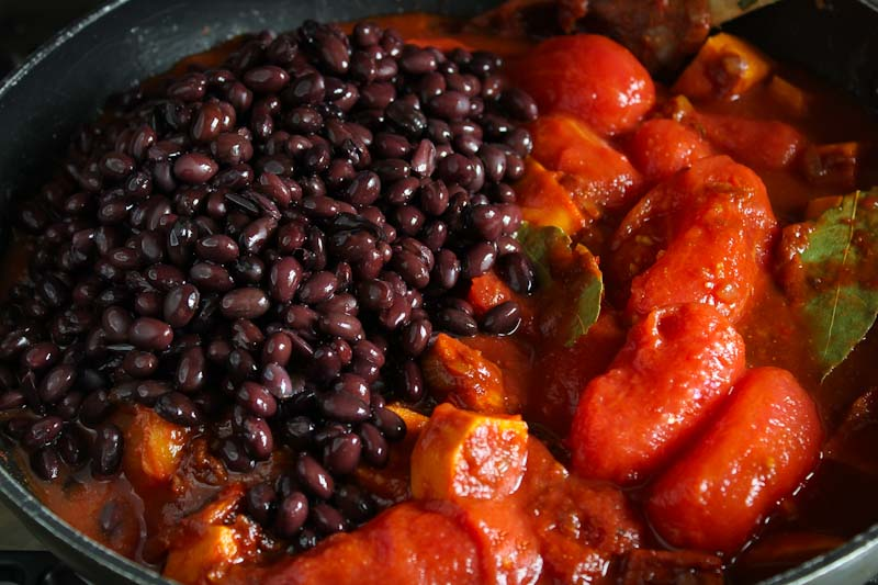 Sweet Potato Chilli Ingredients in Pan