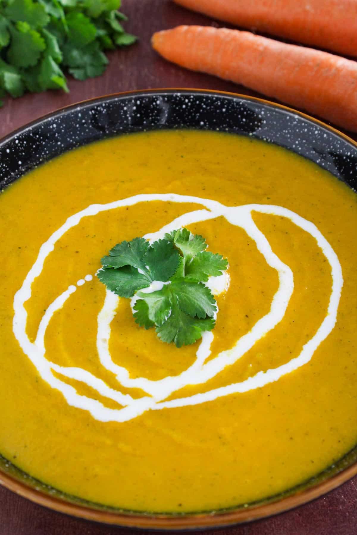 Dairy-Free Carrot Coriander Soup with Vegan Cream
