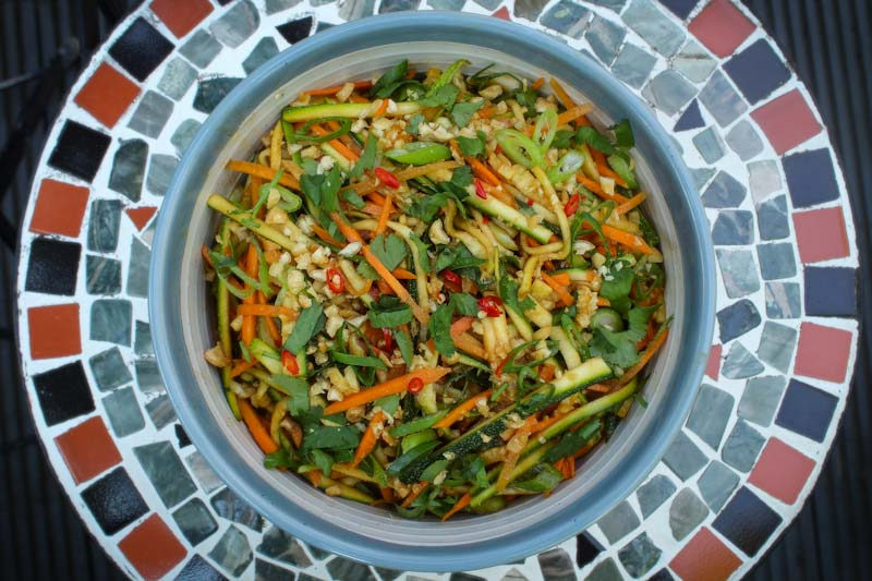 Courgette and Carrot Salad Overhead