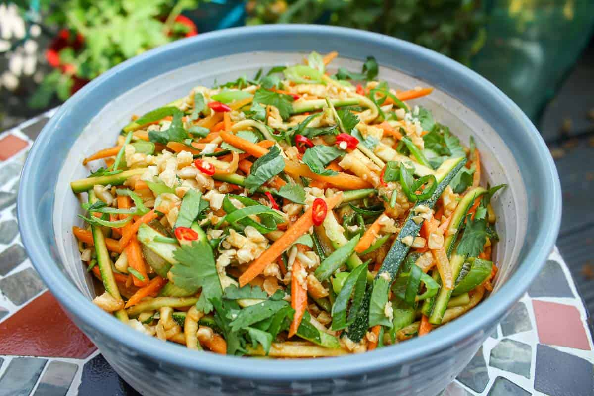 Zucchini and Carrot Salad with Peanut Dressing