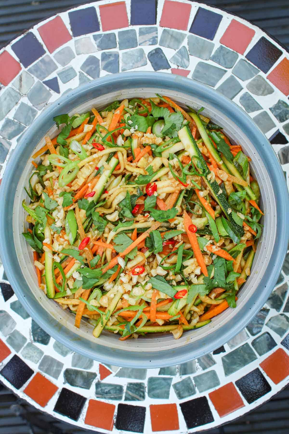Zucchini Salad on Outside Table in Summer