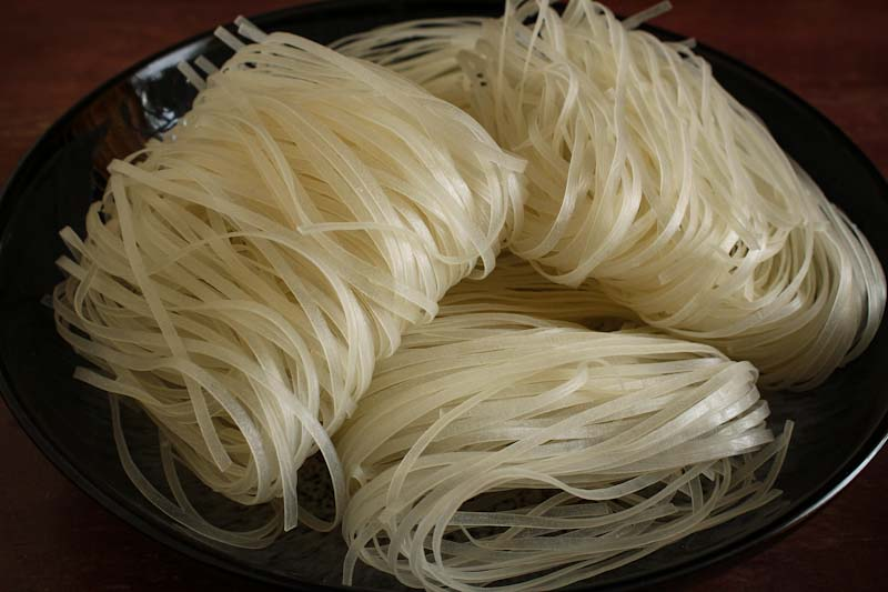 Dry Rice Noodles Close-Up