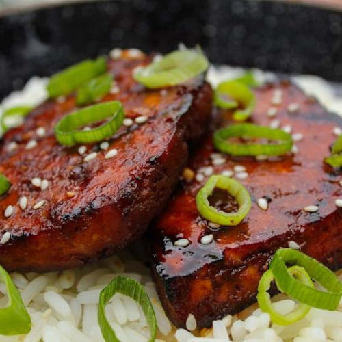 Grilled Teriyaki Tofu Steaks on Rice