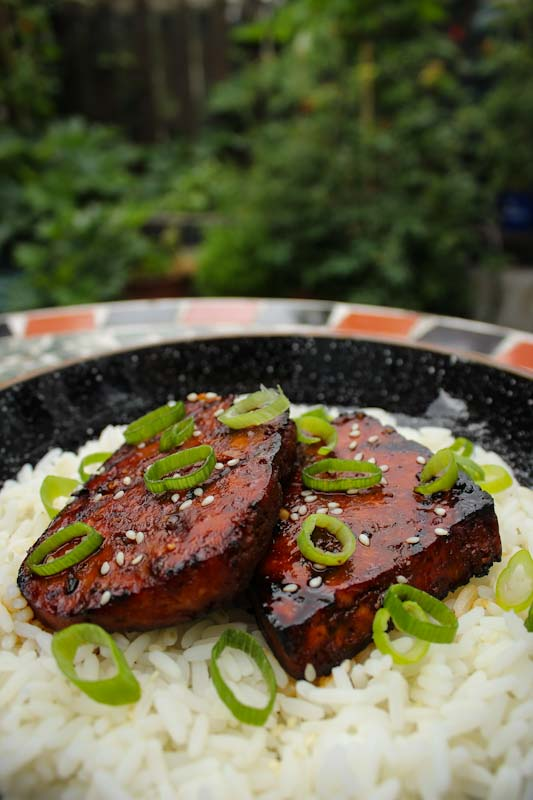 Teriyaki Tofu Steaks with Rice and Spring Onions
