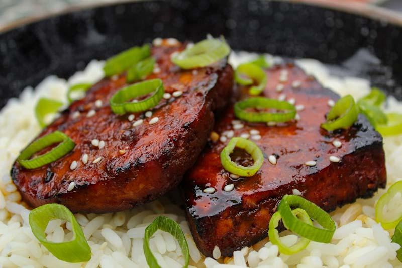 Grilled Teriyaki Tofu Steaks on Rice