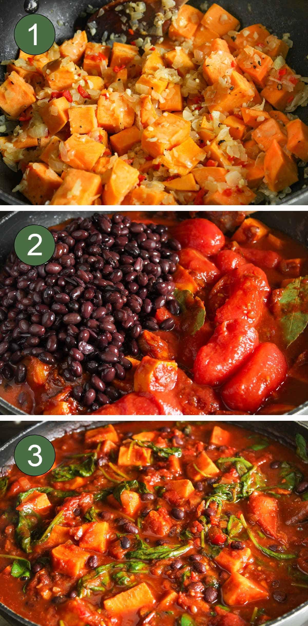 Cooking Process Shots Showing How to Make Sweet Potato Black Bean Chili