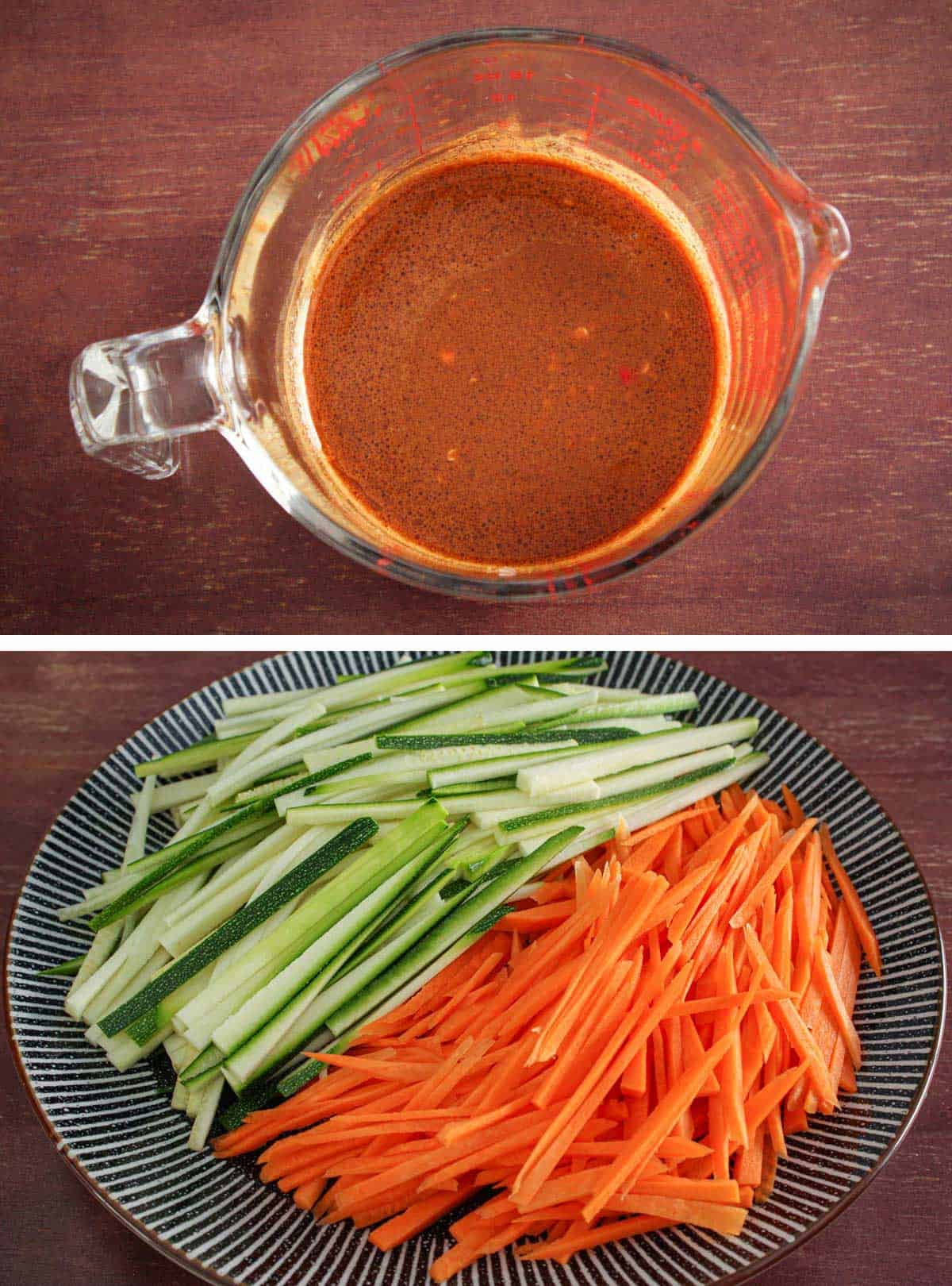 Prepared Peanut Dressing and Julienned Vegetables